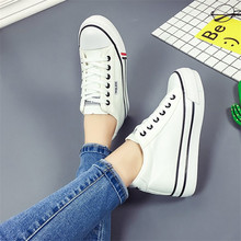 Black Wedge Sneakers Women Red Canvas Shoes New Fashion Brea