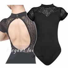 Сексуальное черное кружевное балетное трико с высоким горлом