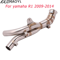 KAJIMAOYI Slip on Motorcycle Exhaust Stainless Steel Front Middle Link Pipe For Yamaha R1 2009 2010 2011 2012 2013 2014 Years