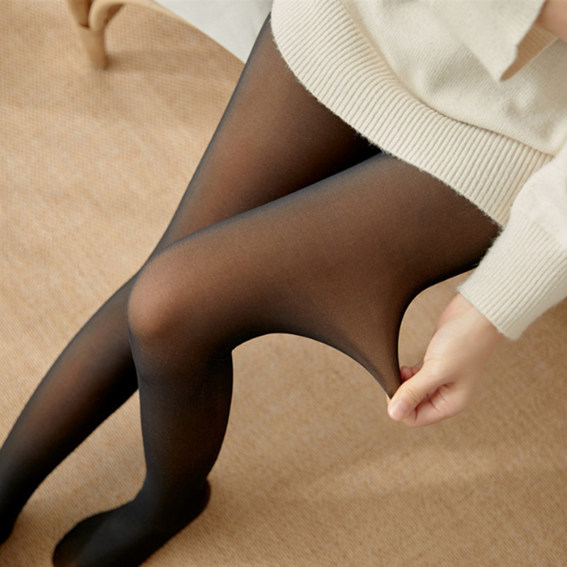 Legs Fake Translucent Fleece Lined Slim Stretchy Warm Leggings For Winter Outdoor  FDC99