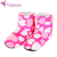 цена на Glglgege Ladies Home Floor Soft Women indoor Slippers sole Cotton-Padded Shoes Female Cashmere Warm Casual Heart-shaped Shoes