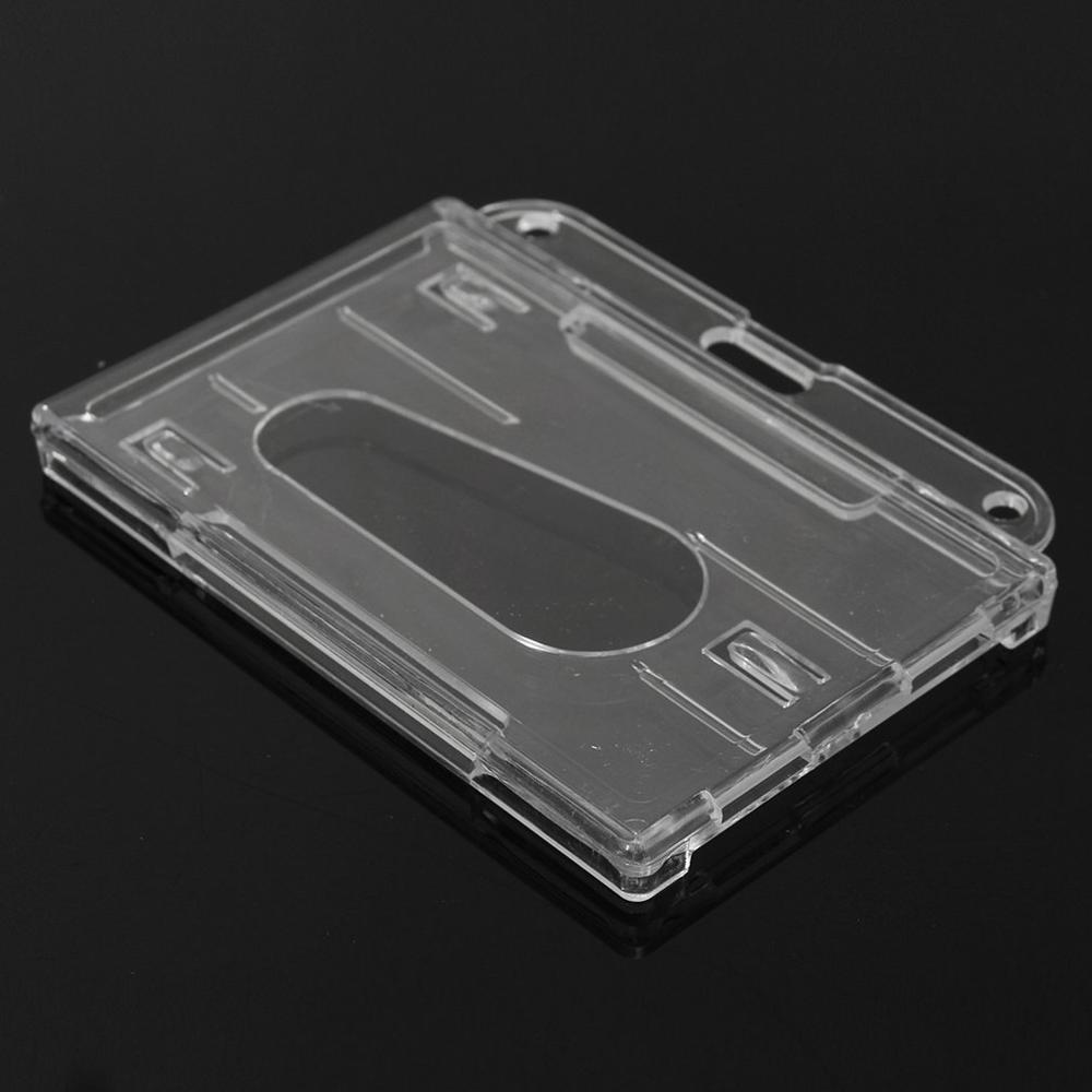 1Pcs Double-faced Card Holder Transparent Clear Horizontal ID Badge Holders Card Cover Easy Access Thumb Notch Hard Plastic