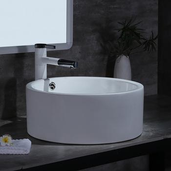 Umywalki ręczne umywalki ceramiczne umywalki łazienkowe białe akcesoria łazienkowe umywalki szamponowe 41 5*41 5cm umywalki tanie i dobre opinie Nie hole ROUND Ociekaczem H202096 Blat umywalki Szampon umywalki Glazury natrysku 41 5X41 5X16 5 WITHOUT TAP