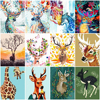 HUACAN Picture By Number Deer Oil Painting Animal Drawing Canvas Acrylic Wall Art Handpainted Gift Home Decor