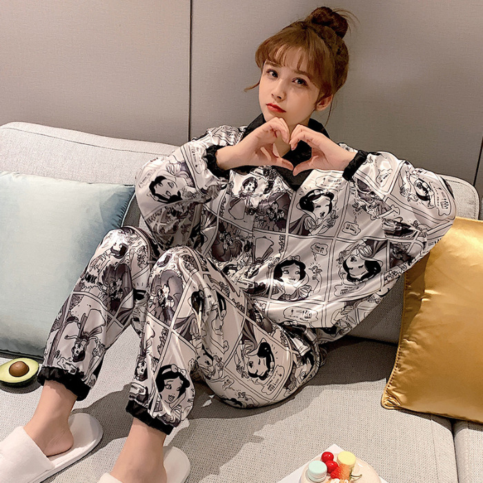Popularity Hot Selling Imitated Silk Pajamas Women's Spring And Summer Sweet Students Two-Piece Set Viscose Home Wear