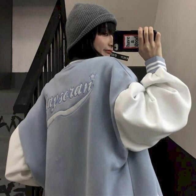 Autumn Harajuku jacket men baseball clothes women Hong Kong style retro letter embroidery plus velvet thick baseball uniform 6