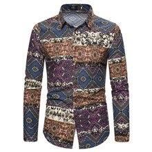 Рождественская Мужская рубашка с принтом, деловая Повседневная Ретро рубашка с длинными рукавами, топ, блузка, зимняя одежда женская сорочка homme manche l