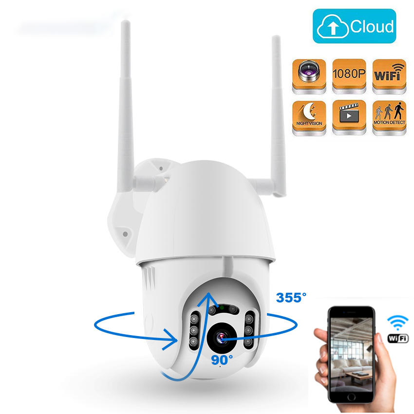 PTZ WIFI Dome IP Camera 1080P Outdoor Waterproof 2MP Security Speed Camera TF Card Wireless IP Camera