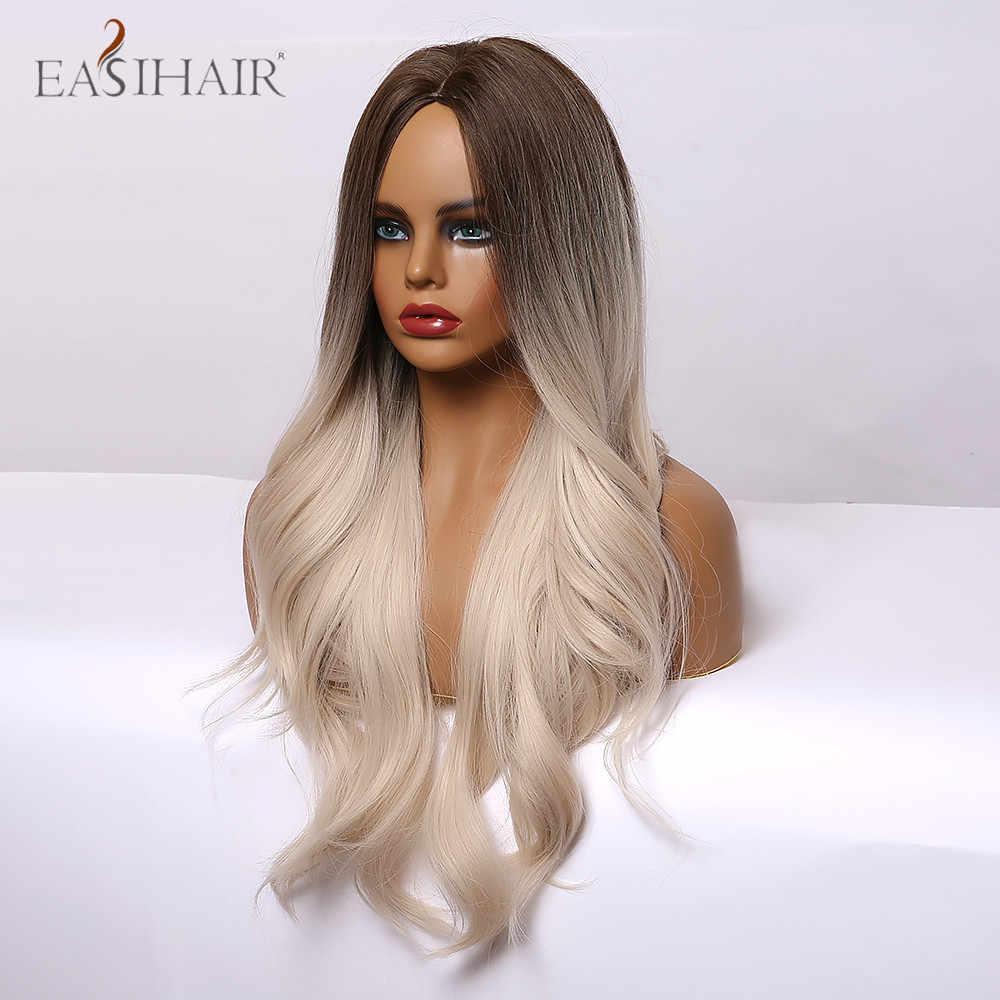 Easihair Ombre Bruin Licht Blond Platina Lange Golvend Midden Deel Haar Pruik Cosplay Natuurlijke Hittebestendige Synthetische Pruik Voor Vrouwen