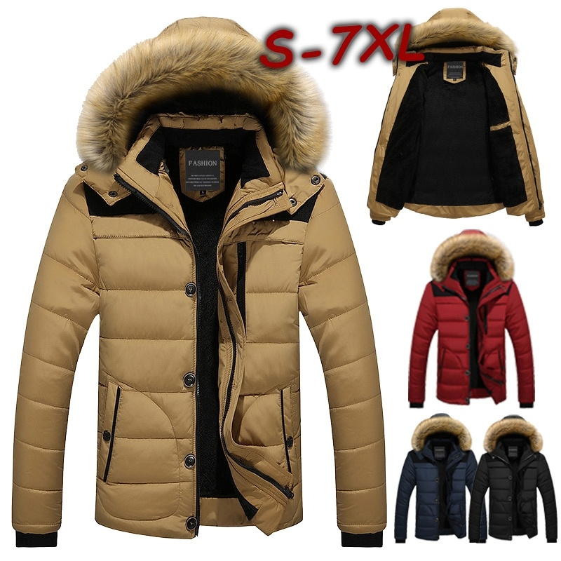 Winter Men Warm Parka Coat Jacket Fur Collar Hooded Mens Bomber Jackets Cotton-padded Casual Thick Male Clothing Plus-size M-6XL