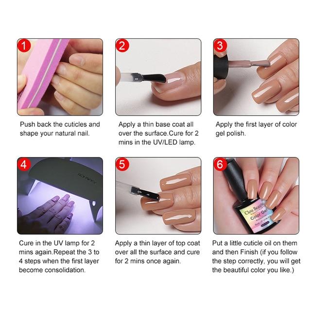 Clou Beaute UV/LED Gel Nail Polish lakiery hybrydowe vernis semi permanant uv Gellak 130 Colors gel lak Base Top Nail Gel Polish 5
