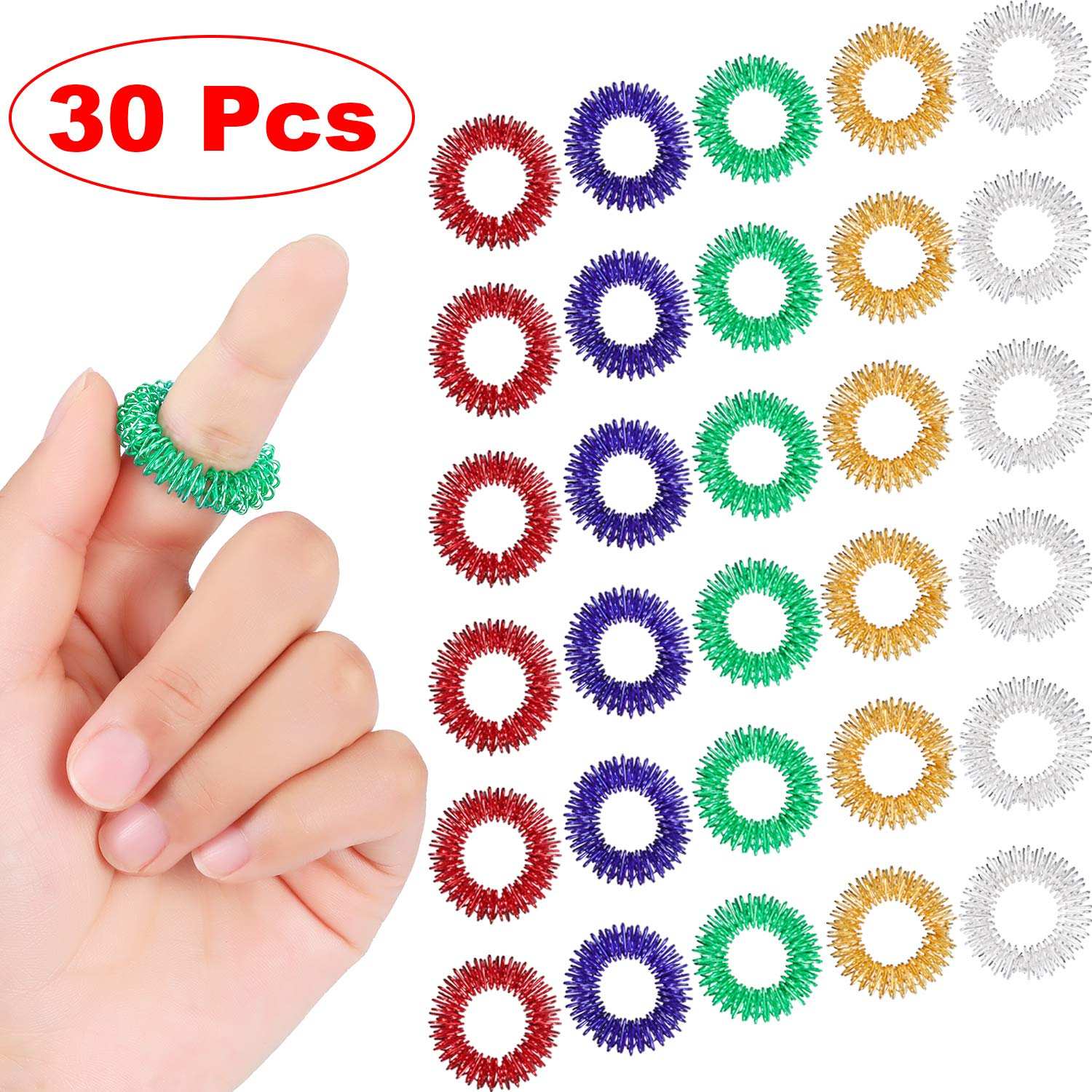 30PCS Spiky Sensory Finger Rings, Spiky Finger Ring/Acupressure Ring Set For Teens, Adults, Silent Stress Reducer And Massager