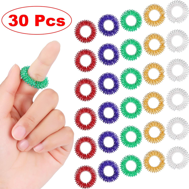 30PCS Spiky Sensory Finger Rings, Spiky Finger Ring/Acupressure Ring Set For Teens, Adults, Silent Stress Reducer And Massager
