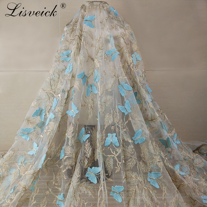 1yard fashion 3D gold thread Embroidered Flower Butterfly Lace Fabric Applique Wedding Clothing Dress Hemline