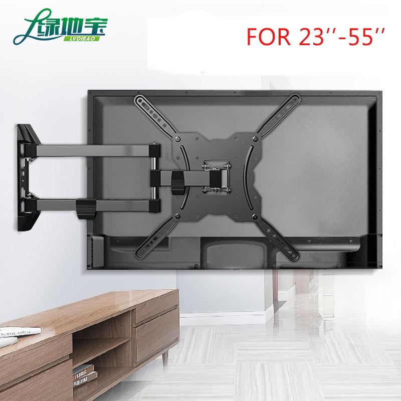 Lvdibao 3 braços cheio movimento tv suporte de parede para 23-55 polegada tela plana 90 graus giratória tv suporte carregando até 35 kg