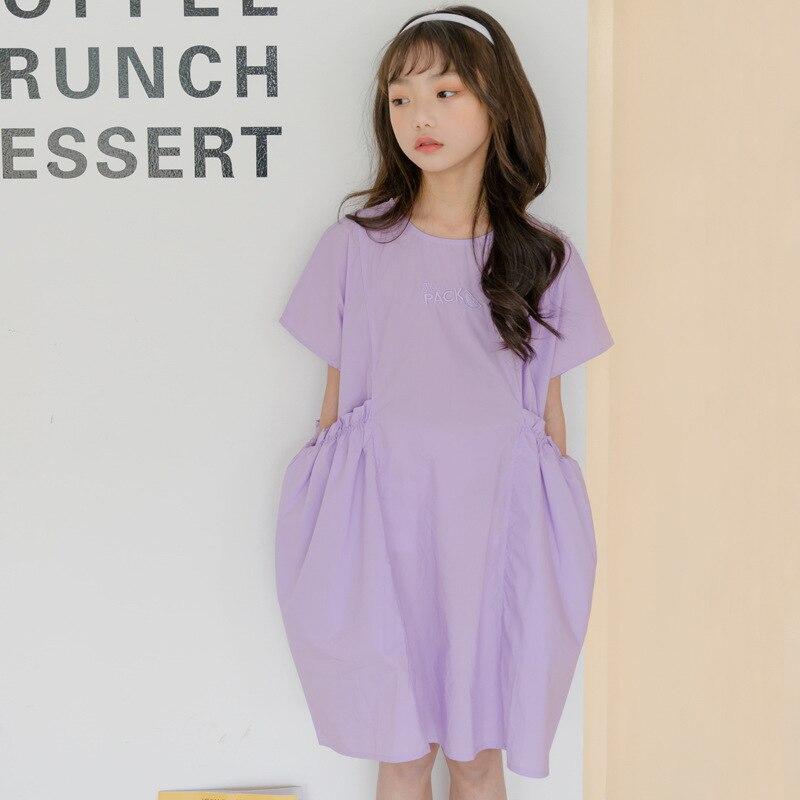 Girls Dress Korean New 2020 Baby Princess Dress Children Summer Dress Leisure Loose  Kids Toddler Cotton Dress Embroidery,#5573