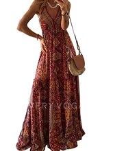 Платье Макси женское с цветочным принтом свободное пляжное ретро