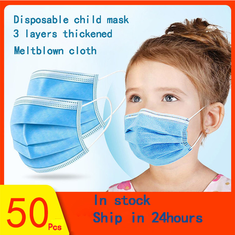 Child Mask Child Protection Mask Kids Face Mouth Masks 30/50pcs 3 Layers Non-woven Disposable Meltblown Cloth Anti-Dust Masks