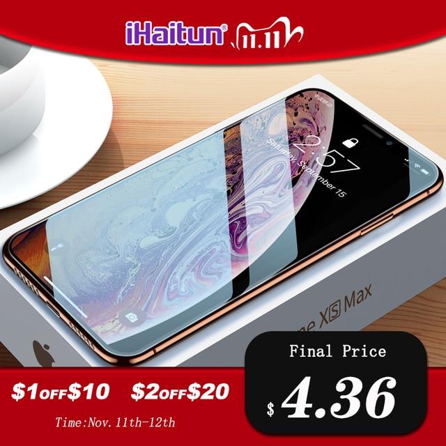 IHaitun vidrio de lujo 6D para iPhone 11 Pro Max XS MAX XR X Protector de pantalla de vidrio templado curvado para iPhone X 11 10 7 película de cubierta completa 8 Plus SE SE2 2020