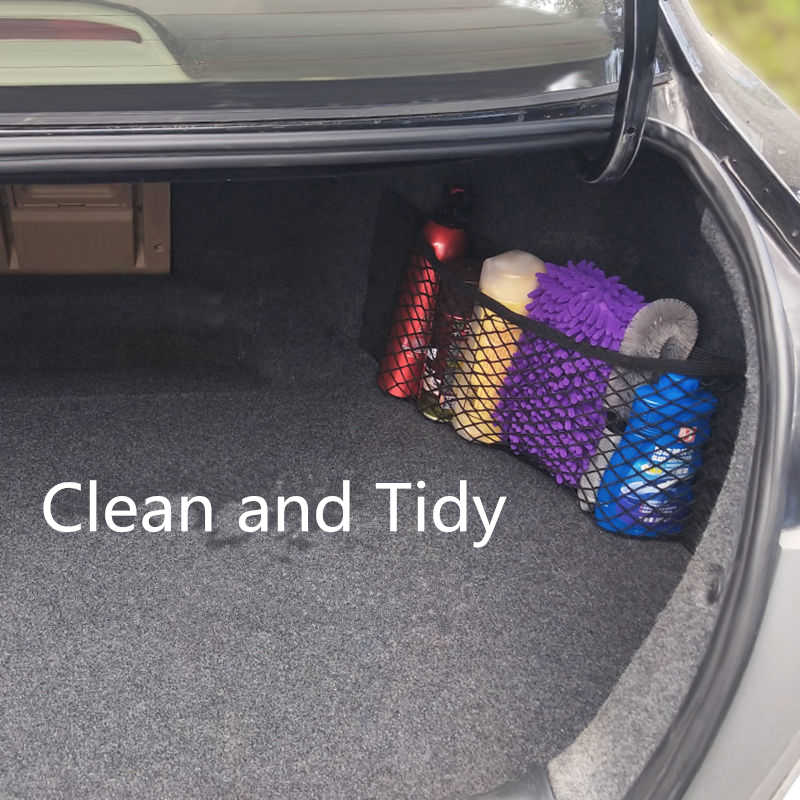 MICTUNIGN Universal Car Trunk Storage Net Mesh Cargo Net Wall Sticker Organizer Pouch Bag Magic Adhesive Storage Net 2 PCS