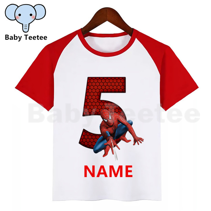 Children Superhero Spiderman Birthday 1-9 Number T Shirt Kid Birthday Party Short Sleeve T-shirt Tshirt Girls Boys Name Top Tees