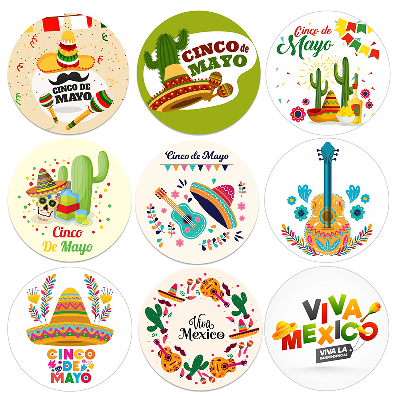 Mexican Party Decorations Stickers Birthday Party Decor Fiesta Viva Mexico Cactus Taco Gift Packing Labels Cinco De Mayo