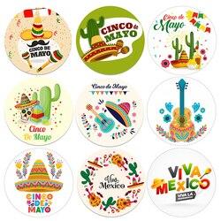 Adesivos para decoração de festa mexicana, adesivos de festa de aniversário, decoração de fiesta viva, méxico, cactus taco, etiquetas de embalagem de cinco de matrimónio