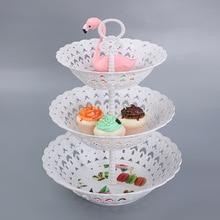 3 яруса кружевных Пластик подставка для свадебного торта днем Чай Свадебные тарелки столовая посуда для выпечки торта магазин трехслойный торт стеллаж для хранения лоток