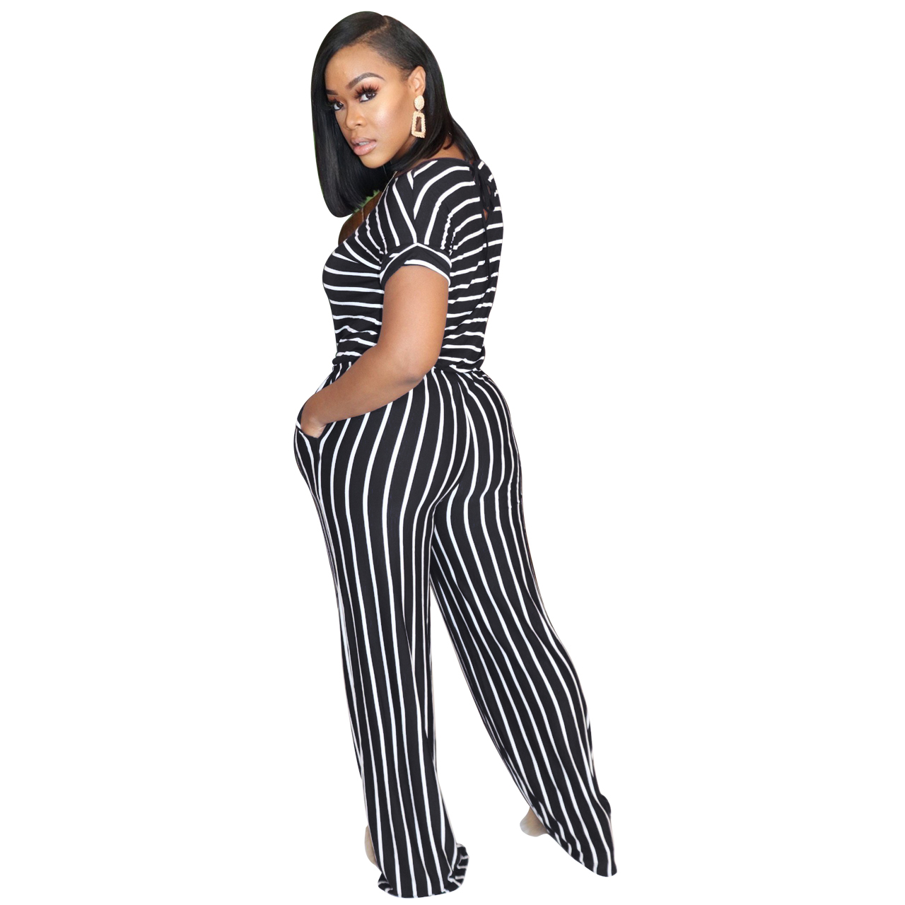 H3af5da00e4e440a2af784bd6ff1699fax - Fashion Women Stripes Jumpsuits Summer New Arrival Short Sleeves Crew Neck Women Casual Rompers Loose Daily Wear Outfits