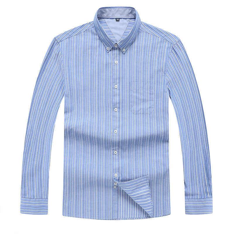 8XL 7XL Mens Long Sleeve  Solid Oxford Dress Shirt With Left Chest Pocket High-quality Male Casual Regular-fit Tops Button Shirt