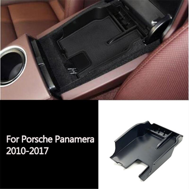 1PC samochodów schowek do podłokietnika centralnego dla Porsche Panamera 2010-2017 konsoli podłokietnik rękawiczki tacka Case pojemnik Car Styling