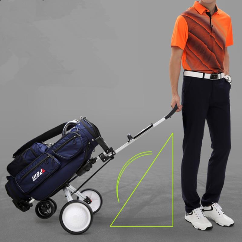 Lightweight Foldable Golf Cart Aluminium Alloy Trolley With Brake Adjustable Push Pull Golf Cart Golf Bag Carrier M2203