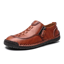 Fashion Men Shoes Casual Leather  Black Loafers Moccasins Non-slip Waterproof Large Size 39-48 Rubber