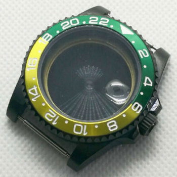40mm sapphire glass Green Yellow Rotating bezel PVD Watch Case fit eta 2824 2836 MOVEMENT