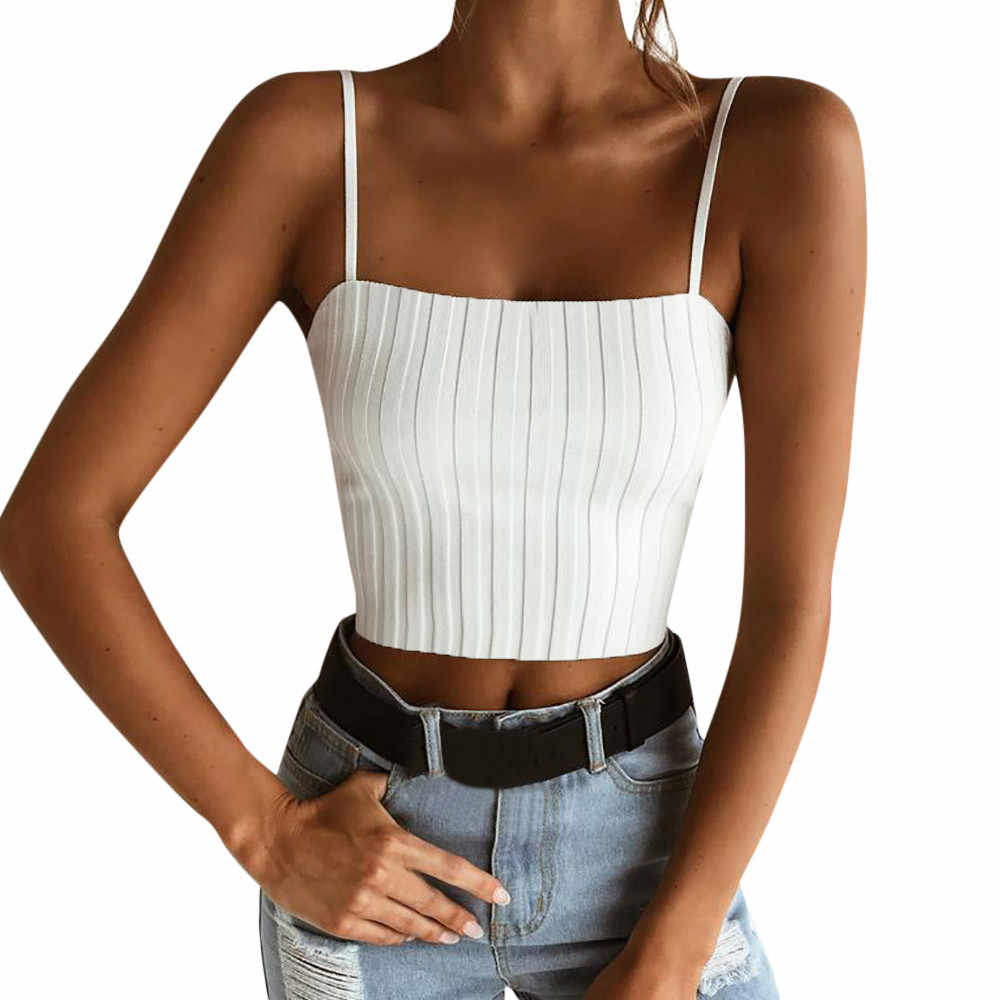 Zomer Sexy Crop Tops Vrouwen Mouwloze Bandjes Elastische Tank Top Solid Fitness Lady Knited Camis Casual Wit Zwart Top Blouse