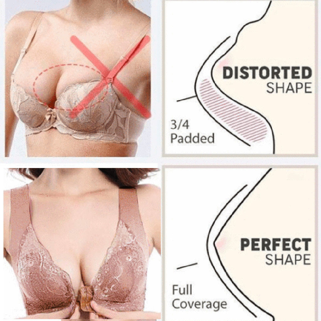 Women's Adjustable Sports Front Closure Extra-Elastic Breathable Lace Trim Bra Non Padded Lace Sheer Underwire Push Up Lingerie