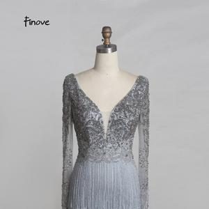 Image 4 - Finove Luxury Beaded Evening Dresses 2020 New Sexy Deep V neck Backless Stunning Tassels Floor Length Long Party Dresses Gowns