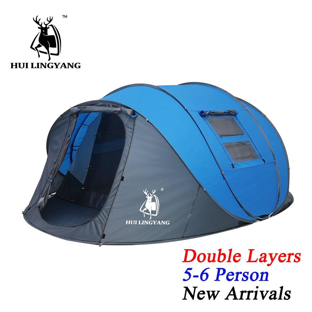HUI LINGYANG всплывающий тент 5 6 человек наружные автоматические палатки двухслойная большая палатка для всей семьи Водонепроницаемая походная палатка