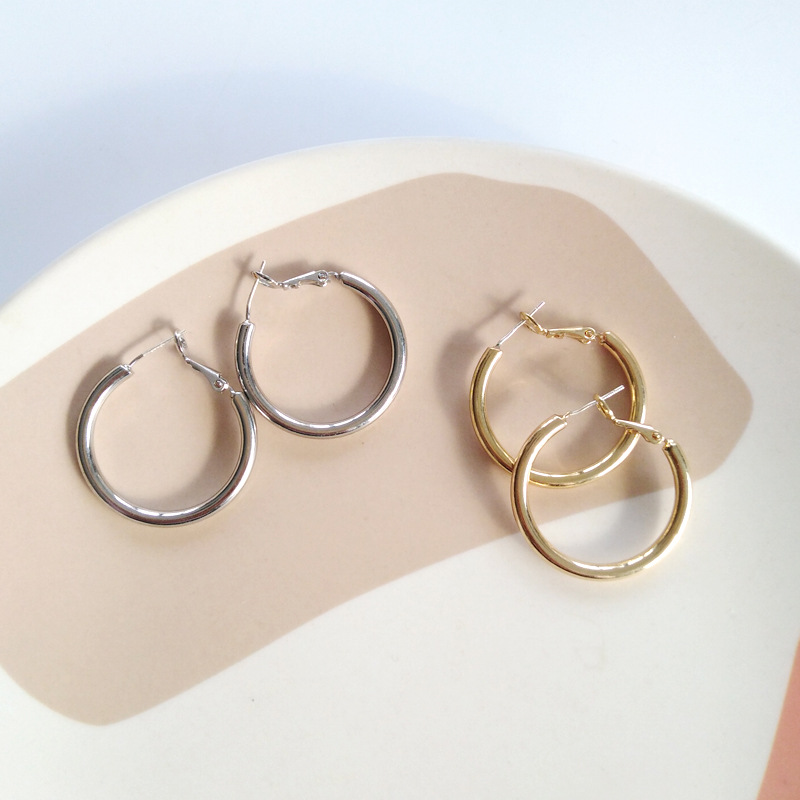 Simple Gold Color Chunky Hoop Earrings For Women 925 Silver Needle