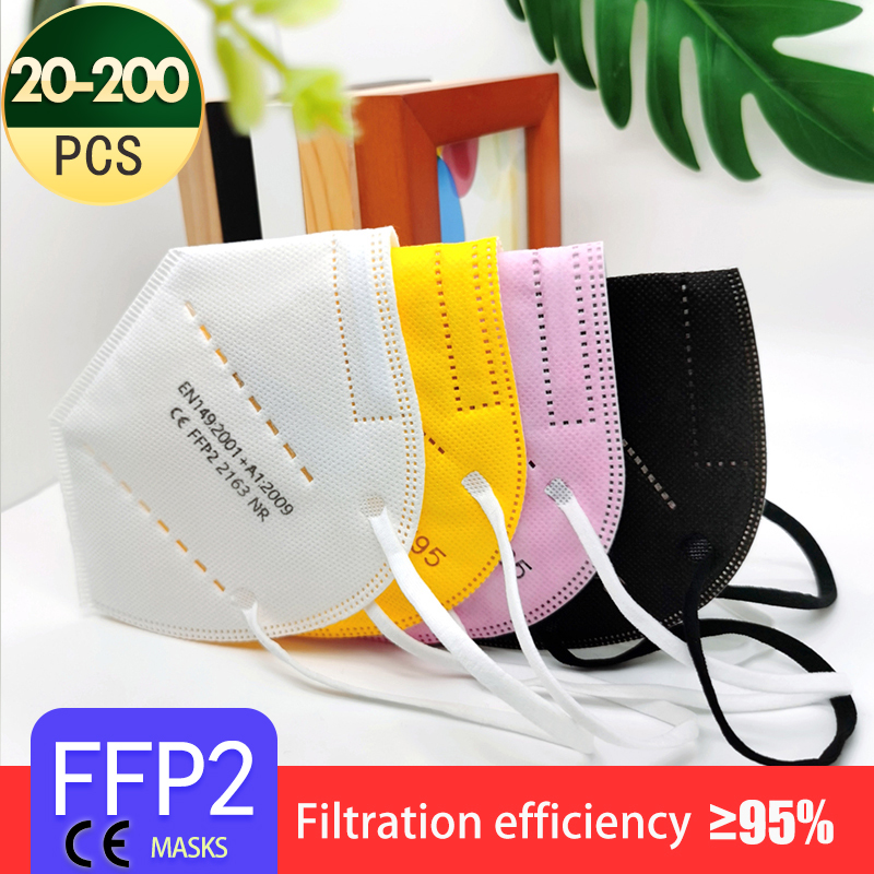 20-200PCS 5 Layers FFP2 MASK Adult Black KN95 Fabric Mascarillas Protective Mouth Face Mask KN95 Filter Respirator FFP2MASK