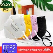 Masque de protection pour adultes, 5 couches, tissu noir, FFP2, KN95, filtre, respirateur, 20 à 200 pièces