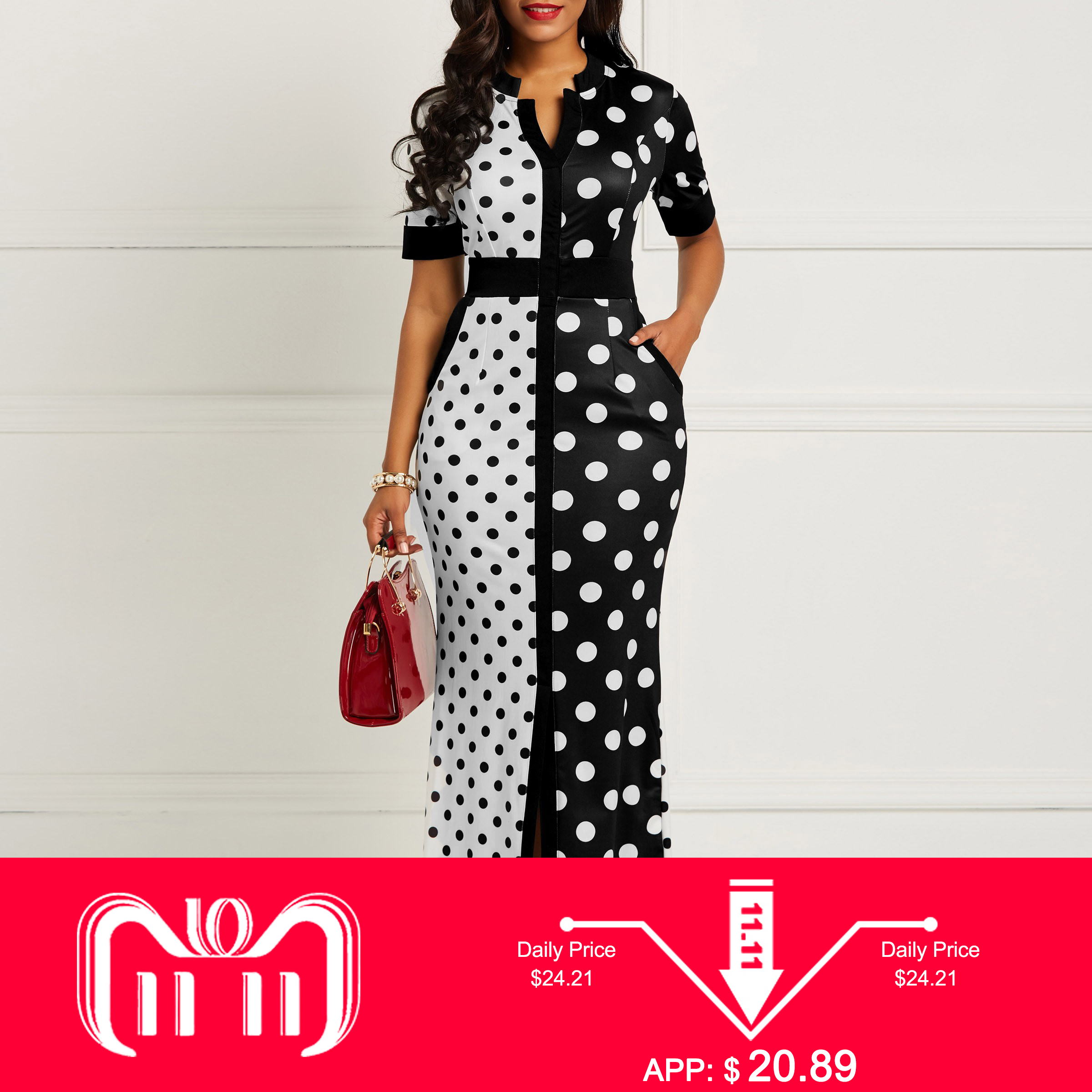 Clocolor, Африканское платье, винтажное, в горошек, белое, черное, с принтом, Ретро стиль, облегающее, женское, летнее, с коротким рукавом размера плюс, длинное, макси платье