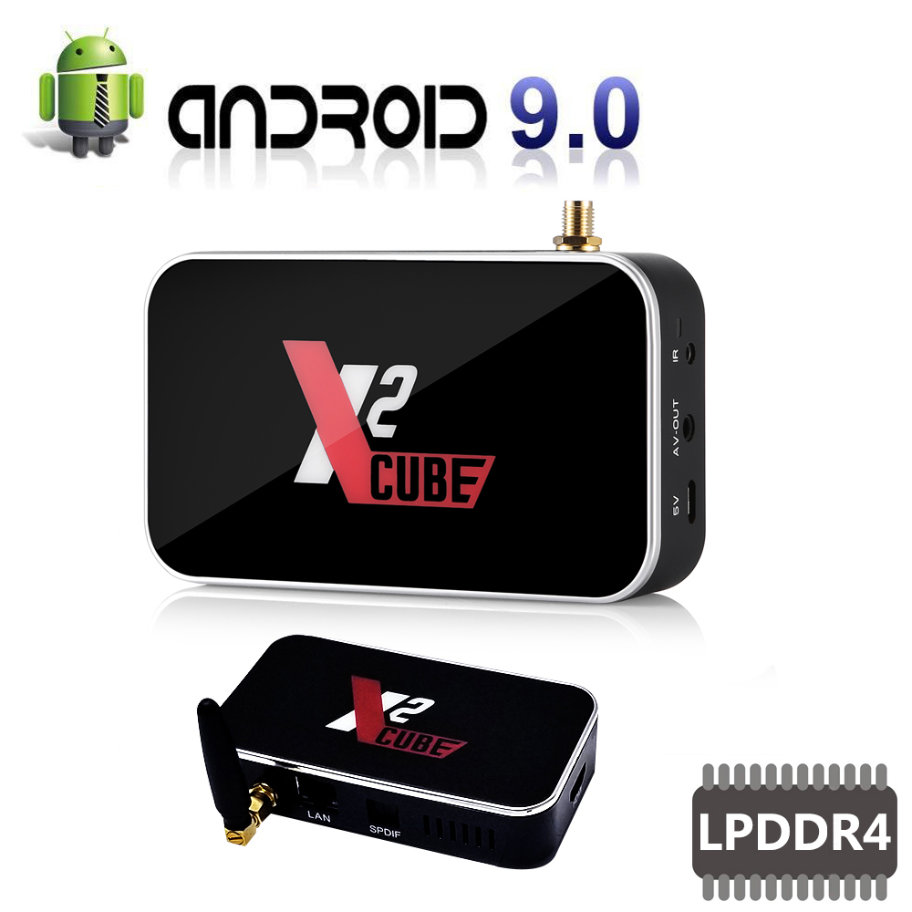 Le plus nouveau Android 9.0 TV box X2 Cube S905X2 Quad Core 2GB DDR4 16GB décodeur 2.4G & 5.8Ghz double Wifi accueil lecteur multimédia Bluetooth