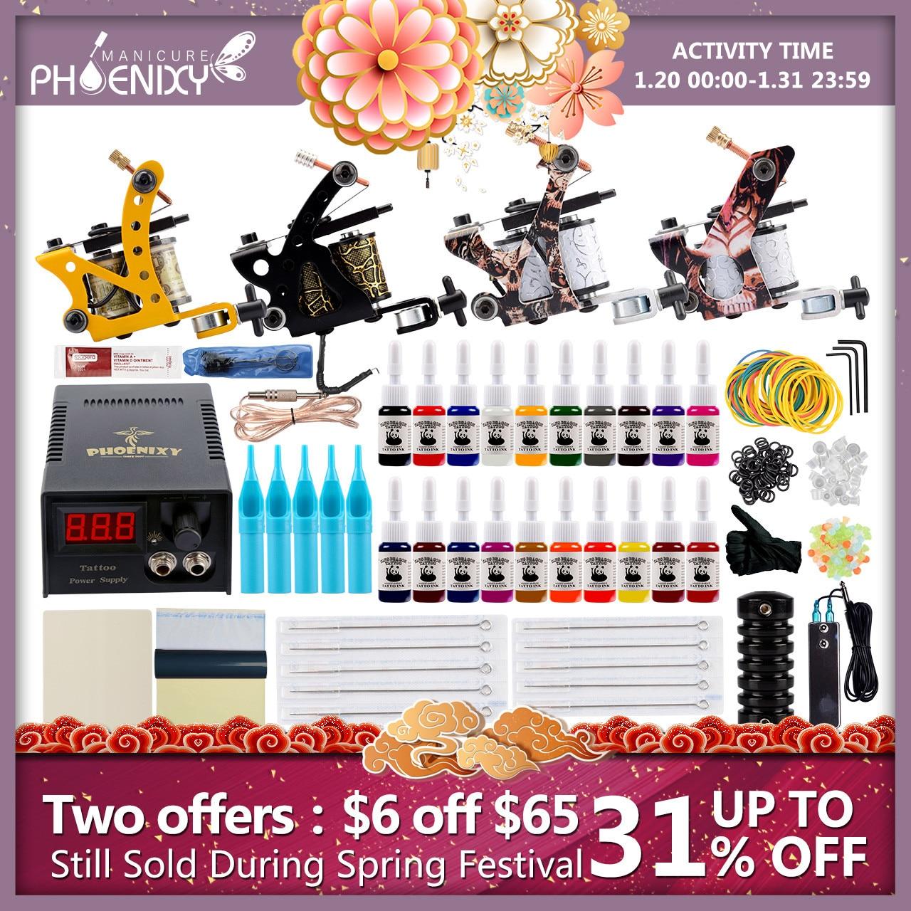 Professional Tattoo Kit 4 Machines Guns Set Tattoo Inks Pigment Power Supply Accessories Body Art Makeup Complete Tattoo Set