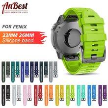 ANBEST 26mm 22mm bant Fenix 6X/ 6X Pro/5X/3 yumuşak silikon kayış için fenix 6/6 Pro/5/5 artı aksesuarları