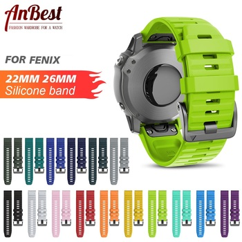 ANBEST 26mm 22mm Band for Fenix 6X/ 6X Pro/5X/3 Soft Silicone Strap  6/6 Pro/5/5 Plus Accessories - discount item  19% OFF Watches Accessories