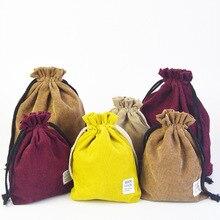 Large-capacity double-layer thickened drawstring cotton bundle pocket portable travel bag debris storage and finishing bag