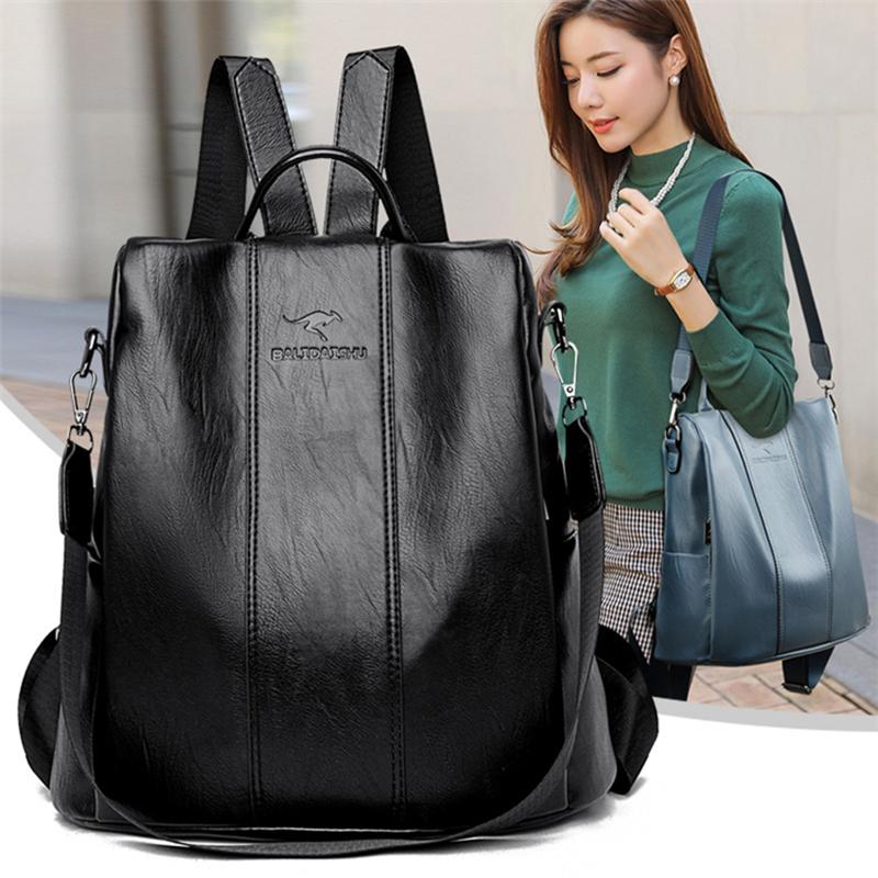 Anti theft leather backpack women vintage shoulder bag ladies high capacity travel backpack school bags girls mochila feminina