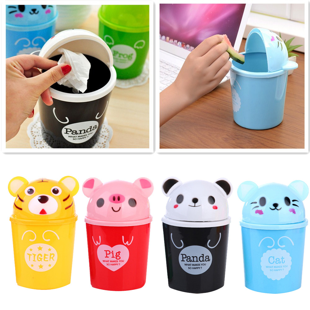 Car Trash Trumpet Desktops Mini Creative Covered Auto Trash Can Bin Garbage Kitchen Living Room 2019 Accessories