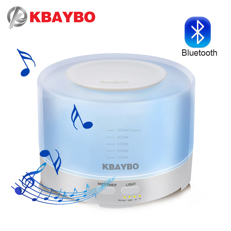 500ml Ultrasonic Air Aroma Humidifier With 7 Color LED Lights Change And Connect Bluetooth Play Music Electric  Aroma Diffuser